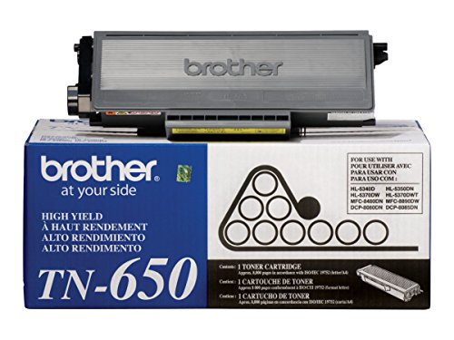 Brother Genuine High Yield Toner Cartridge, TN650, Replacement Black Toner, Page Yield Up To 8,000 (Brother Hl 5340 Toner)