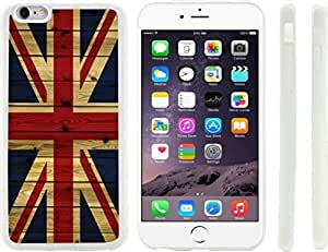 Rikki KnightTM Wooden United Kingdom flag Design iPhone 6 Plus Case Cover (Clear Rubber with raised front bumper protection) for Apple iPhone 6 Plus