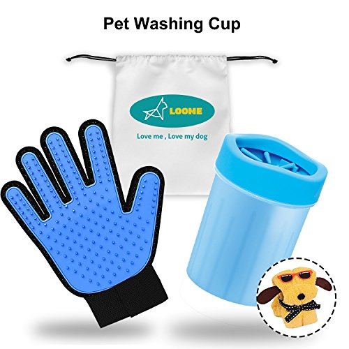 ng Set, Portable Soft Silicone Dog Paw Washer Cup - Pet Hair Remover Grooming Glove with Cleaning Towel and Storage Bag for Dogs Cat Grooming, Blue, Small ()