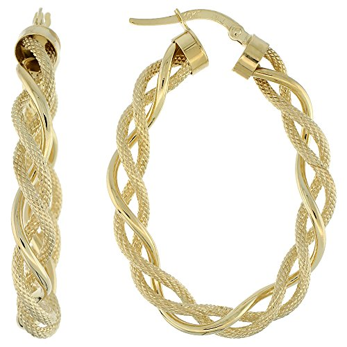 Oval Twisted Rope - 10K Yellow Gold Oval Hoop Earrings Twisted Rope Tubing Two tone Textured Finish Italy 1 1/2 inch