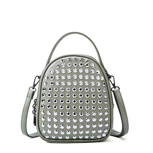 JNML PU leather diamond-studded backpack simple box women's designer,Green