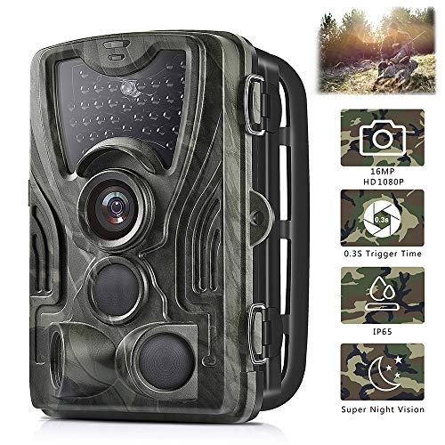 Trail Game Camera 16MP 1080P Waterproof Hunting Scouting Cam for Wildlife Monitoring with 120°Detecting Range Motion Activated Night Vision 2.4