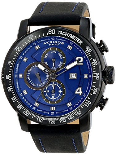 Akribos XXIV Men's AK743BU Explorer Black Stainless Steel Watch with Black Calfskin Band