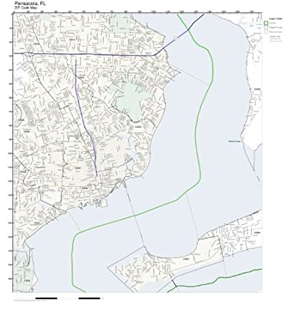 Amazon Com Zip Code Wall Map Of Pensacola Fl Zip Code Map