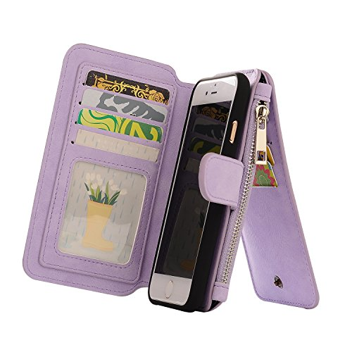 iPhone 7 Case, Firefish Multifunction Premium PU Leather Wallet Flip Cover Case with Credit Card Holder Built-in 10 Card Slots for Apple iPhone 7 2016(Not for 7 Plus) -Lilac