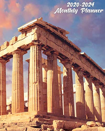 2020-2024 Planner: Pretty 5 Year Monthly Organizer, Schedule Calendar & Agenda with 60 Months Spread View - Fantastic Sunset at Parthenon Temple & Acropolis, Athens, Greece