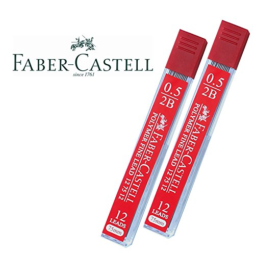 Faber-Castell Lead Refills 0.5mm 2B Black 12 Leads, 75mm. [Pack of 2]