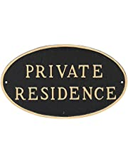 """Montague Metal Products Oval Private Residence Statement Plaque Sign, Black with Gold Lettering, 6"""" x 10"""""""