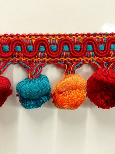 l Fringe French Blue/Red & Orange (Sold by the yard) TF-19/44-30-49 (Cotton Tassel Trim)