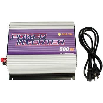 iMeshbean 500W Grid Tie MPPT Power Inverter Converter for Solar Panel and Wind Turbine Generator System Stackable Pure Sine Wave USA (500W Solar Input 24v - 52v DC)