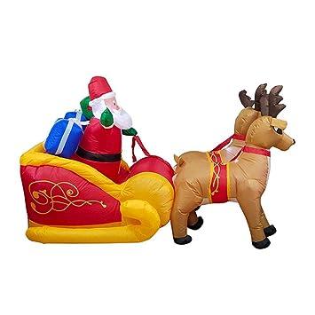 Papá Noel inflable de Navidad de 7 pies de largo en trineo con 2 ...