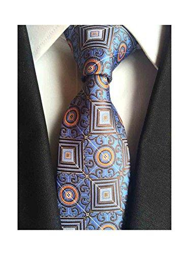 L04BABY Men's Classic Geometric Paisley Jacquard Woven Silk Tie Necktie (Geometric Classic Tie)