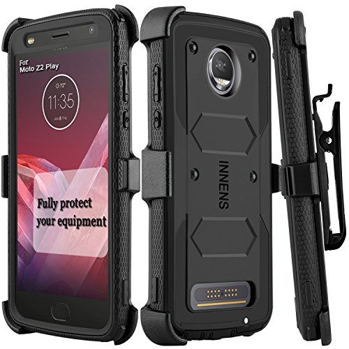 Innens Compatible Moto Z2 Force/Z Force 2017 / Moto Z2 Play Case, Hybrid Heavy Duty Anti-Scratch Shockproof Protective Case with Kickstand Belt Clip Compatible Moto Z2 Play (Black)