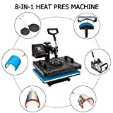 ROVSUN 8 in 1 Digital Heat Press Transfer Sublimation Multifunction Machine,Swing Away Rhinestone/T-Shirt/Mug/Plate/Cap Heat Press Mouse Pads Jigsaw Puzzles DIY Press,12