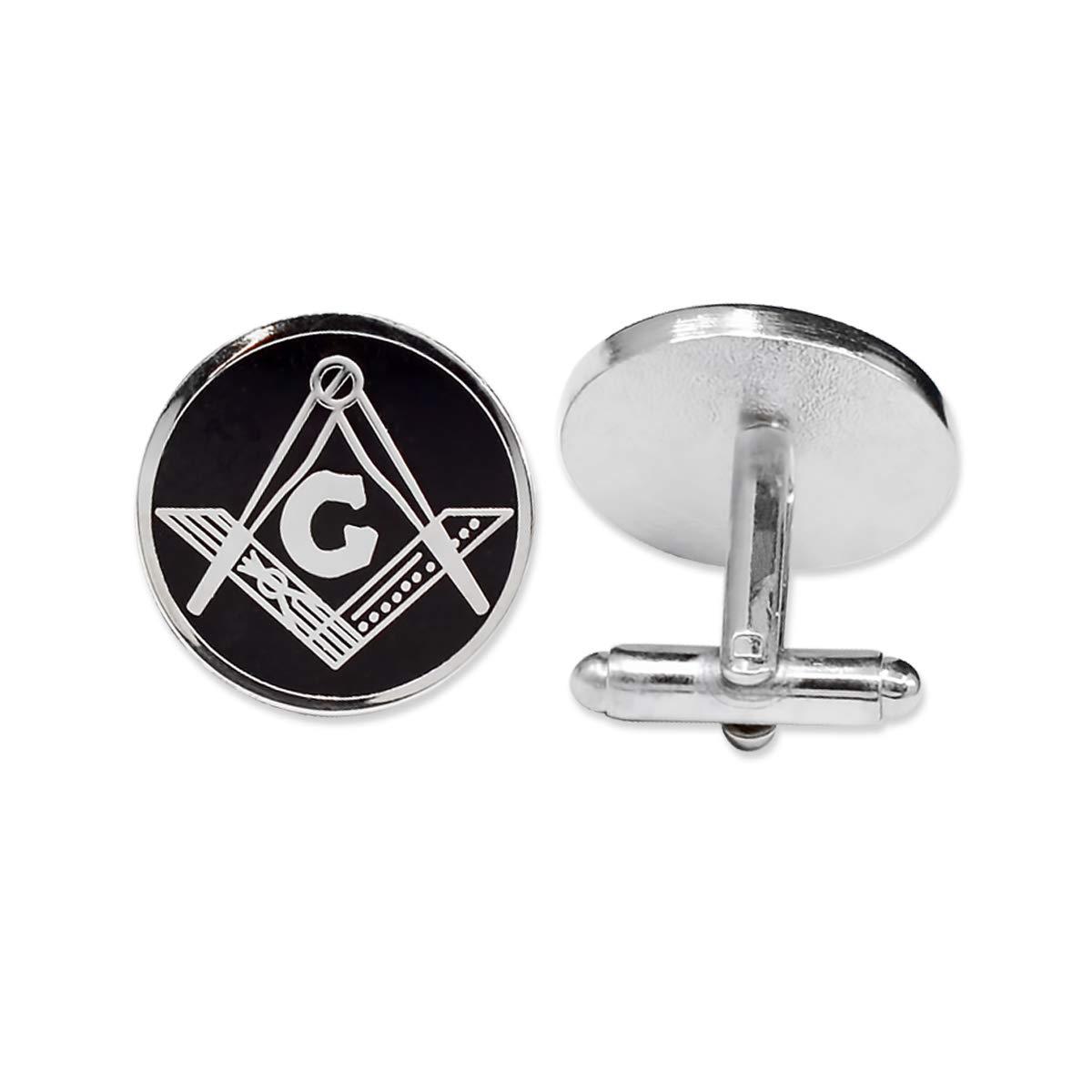 Square & Compass Round Silver & Black Masonic Cufflink Set - 3/4'' Diameter
