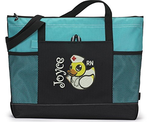 Pediatric Nurse Duckie Personalized Embroidered Tote Bag by Simply Custom Life