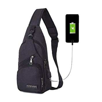 3336c96d1724 BARHOMO Sling Bag with USB Charging Port Backpacks Bags Crossbody Rope  Triangle Pack Rucksack for Hiking