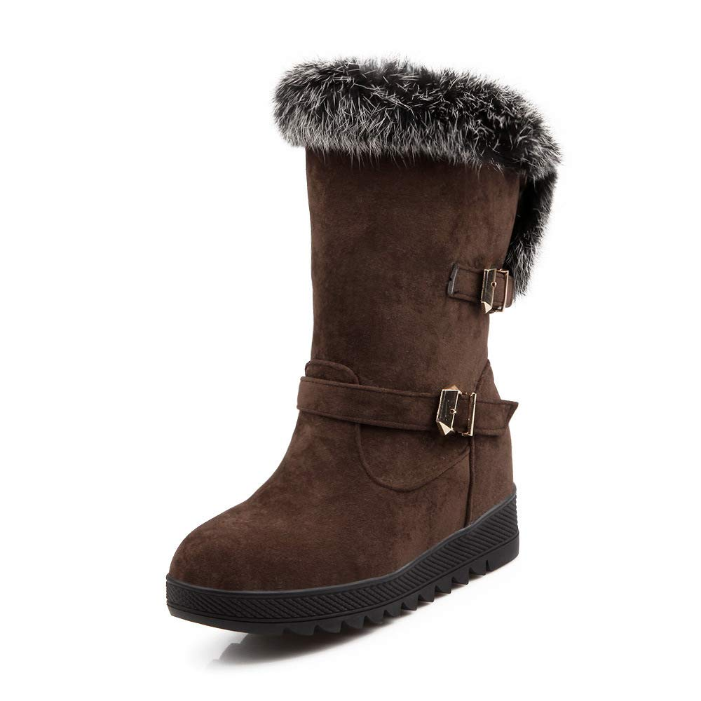 QINGMM Frauen Mode Wildleder Wildleder Wildleder Schnee Stiefel 2018 Winter Casual Flache Baumwolle Stiefel Große Größe Dunkelbraun 35 EU 6704c3