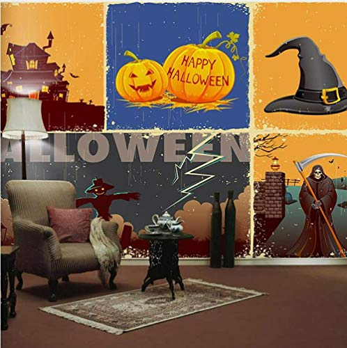 ZDBWJJ 3D Wallpaper Happy Halloween Pumpkin Festival Mural Wall Mural Movie for Sofa Background Photo Murals Wall Paper-F]()