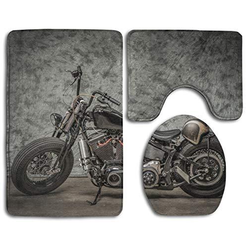 KDCRDIY Harley Davidson Motorcycle Bathroom Rug Mat 3 Pcs Set Flannel Shower Bath Rugs - Contour Mat and Lid Cover Soft Non-Slip Back
