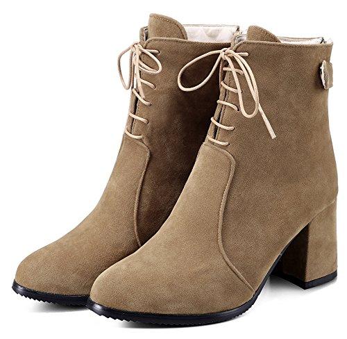 IDIFU Womens Dressy Mid Chunky Heel Zipper Short Motor Ankle Boots Yellow Z3Tof5G9zJ