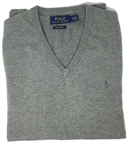 Polo Ralph Lauren Mens Pima Cotton V-Neck Sweater (Grey , XL) (Sweater Pima 100% Cotton)