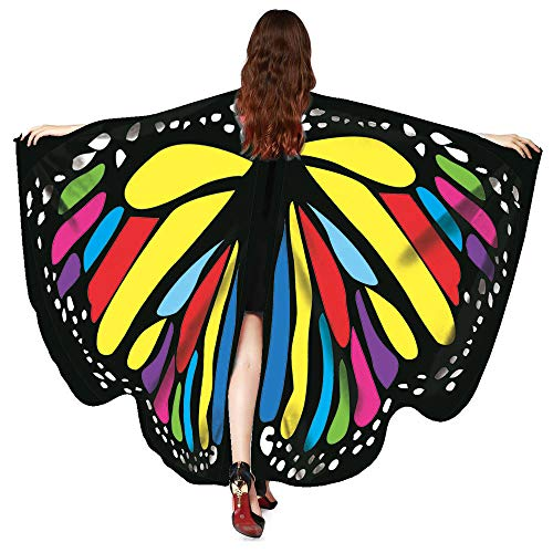 Basde Butterfly Wings Shawl Scarves, Women Festival Props Butterfly Wings Shawl Scarves for Halloween/Party Prop (V-Multicolor)