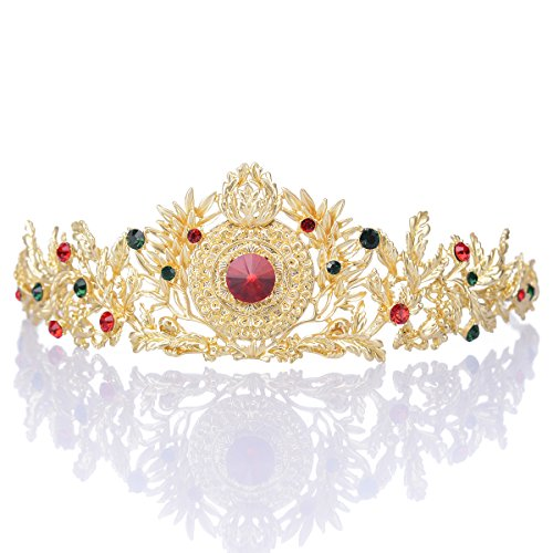 [Remedios Retro Baroque Gold Wedding Tiara Headband Bridal Tiara Crown Headpieces] (Extra Head Costume)