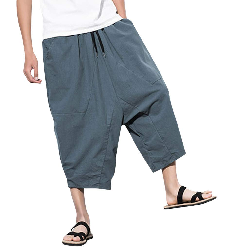 Men's Retro Solid Casual Loose Streetwear Pants Drawstring Calf-Length Pants Harem Trousers (XL, Gray)