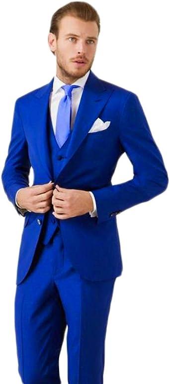 Ka Beauty Men S 3 Piece Two Button Royal Blue Suit Jacket Pants Vest Amazon Co Uk Clothing