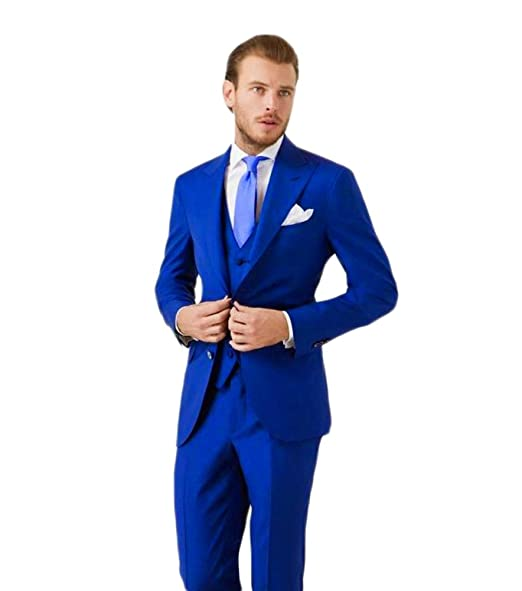 KA Beauty Men\u0027s 3 Piece Two Button Royal Blue Suit (Jacket+
