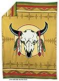 "Native American Fleece Blanket - ""Buffalo Skull"""