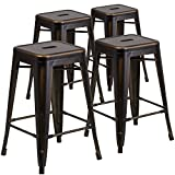 "Flash Furniture 4 Pk. 24"" High Backless Distressed Copper Metal Indoor-Outdoor Counter Height Stool Review"