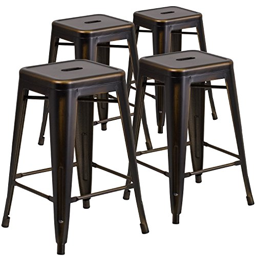 Flash Furniture 4-ET-BT3503-24-COP-GG 24'' High Backless Distressed Copper Metal Indoor-Outdoor Counter Height Stool, 4 Pack,