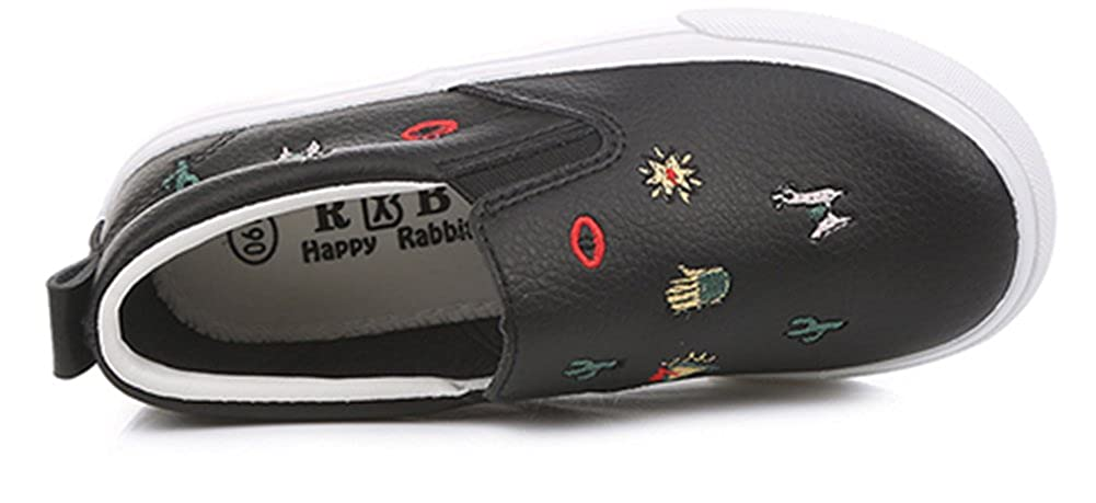 SFNLD nStar Kids Super Cute Patterned Round Toe Low Top Slip on Walking Loafers Shoes