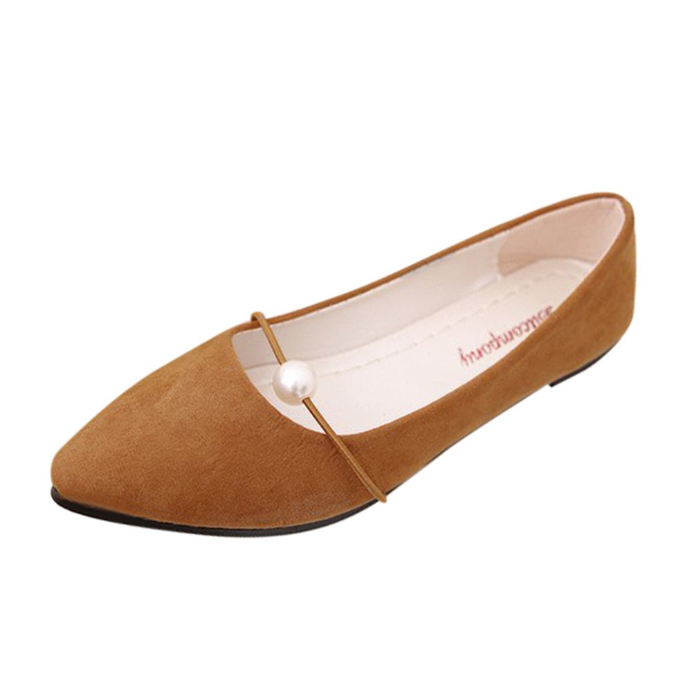 VANSOON Clearance Sandals Women's Flat Boat Shoes Solid Suede Flat Heel Pearl Pointed Casual Single Shoes Brown