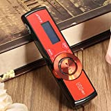 Hitommy LCD Screen USB Mp3 Music Player Fm Radio Support 16Gb Micro Sd Tf Card Earphone - Red
