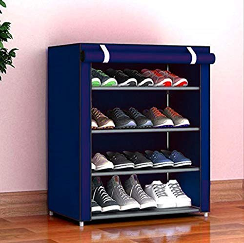 4 Layer Multipurpose Portable Folding Shoes Rack/Shoes Shelf/Shoes Cabinet with Wardrobe Cover, Easy Installation Stand for Shoes(Shoes Rack)(Shoes Rack, Shoes Racks for Home)_4 Layer Navy