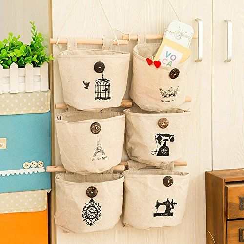 Storage Bag 6 Pockets Wall Door Closet Linen/Cotton Fabric Hanging Storage Bag Case Home Organizer Door Closet Nostalgic Style by WJkuku