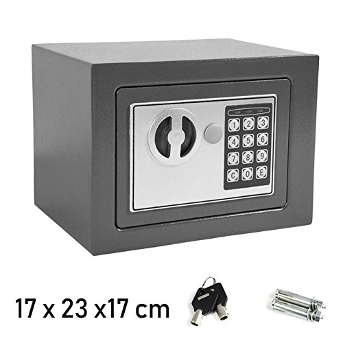 "Digital Electronic Safe Box for Home Office, 4.6 Litre Small 6.7""x 9"" x 6.7"" Grey, with 2 Emergency Keys, Wall Floor…"