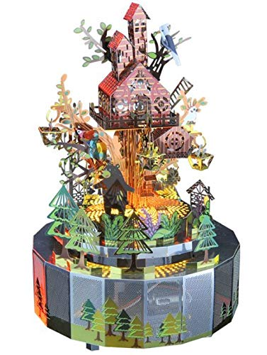 Forest Rhapsody Rotation Music Box with Colorful LED Lights, 3D Metal Puzzle DIY Model Building Kit, Creative Gift Toy for Kids