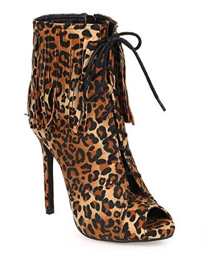 Liliana Dk71 Dames Suede Fringe Peep Toe Vetersluiting Stiletto Bootie Leopard Faux Suede