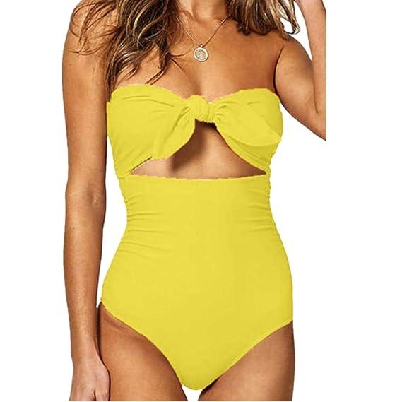 Bikinis Mujer 2019 SHOBDW Traje de Baño Mujer Una Pieza Vintage Bañadores de Mujer Sin Tirantes Push Up Bikinis Monokini Solid Arco Vendaje Bañador ...