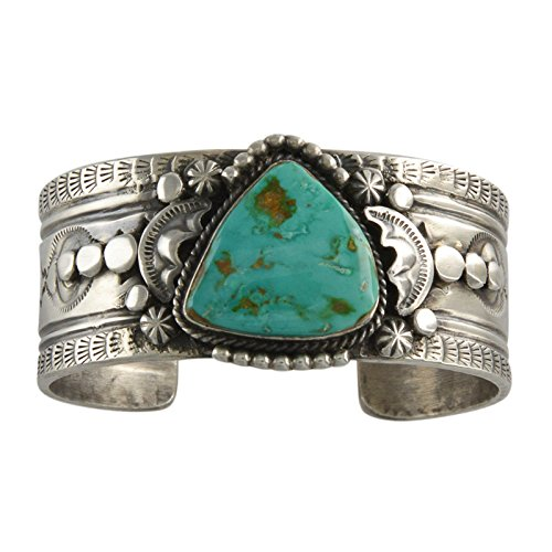 (Select Jewelry Displays Gilbert Tom Sterling Silver Royston Turquoise Repousse Cuff Bracelet Navajo)