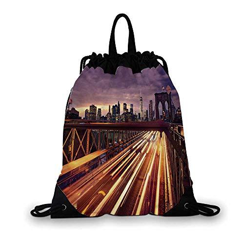 City Nice Drawstring Bag,Brooklyn Bridge at Night Car Traffic in New York United States Transport For hiking,7.4