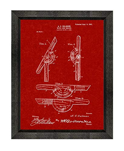 Burgundy Red Art Print - Bevel and Square Patent Art Burgundy Red Print in a Beveled Black Wood Frame (5