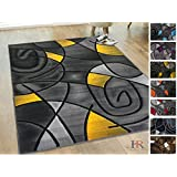 Handcraft Rugs - Yellow/Gray/Silver/Black/Abstract Area Rug Modern Contemporary Circles and Wave Design Pattern