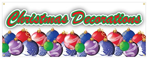 Christmas Decorations Banner Blow-Ups Lights Ornaments Retail Sign 48x120