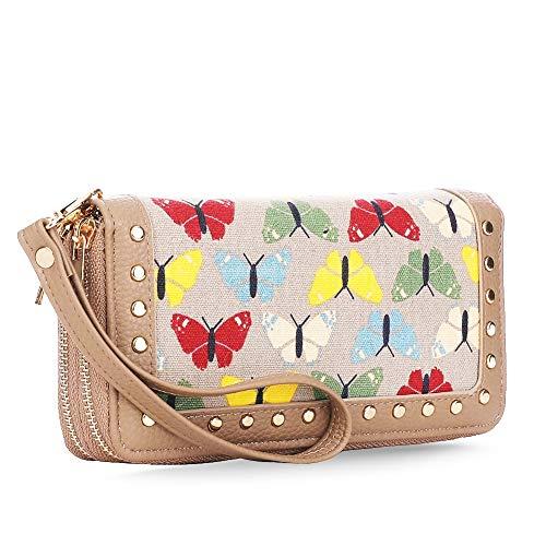 K A Butterfly Double Zip-Around Wallets Clutch Checkbook Long Purse Strap