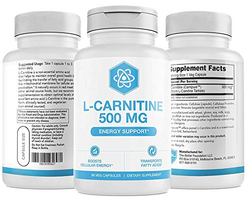 UMZU: L-Carnitine - 500 mg - Energy Boost - Clinically Tested - Improve Focus - Natural Fitness/Workout Supplement - Purest Form - Made in USA